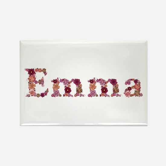 Emma Pink Flowers Rectangle Magnet