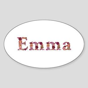 Emma Pink Flowers Oval Sticker