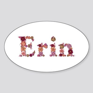 Erin Pink Flowers Oval Sticker
