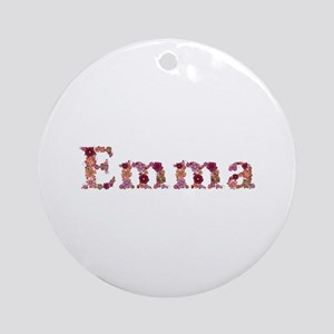 Emma Pink Flowers Round Ornament