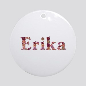 Erika Pink Flowers Round Ornament