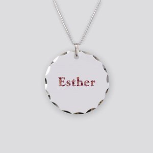 Esther Pink Flowers Necklace Circle Charm