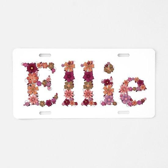 Ellie Pink Flowers Aluminum License Plate