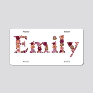 Emily Pink Flowers Aluminum License Plate