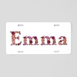 Emma Pink Flowers Aluminum License Plate