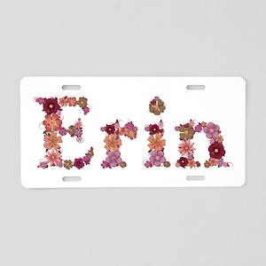 Erin Pink Flowers Aluminum License Plate