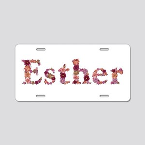 Esther Pink Flowers Aluminum License Plate