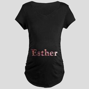 Esther Pink Flowers Maternity Dark T-Shirt