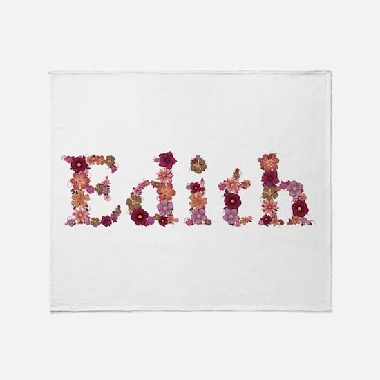 Edith Pink Flowers Throw Blanket