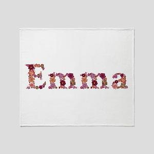 Emma Pink Flowers Throw Blanket
