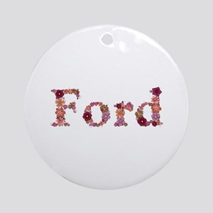 Ford Pink Flowers Round Ornament
