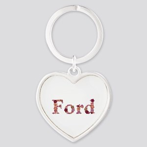 Ford Pink Flowers Heart Keychain