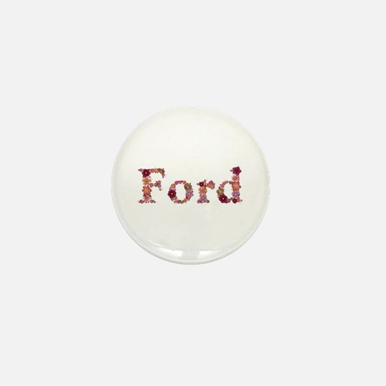 Ford Pink Flowers Mini Button