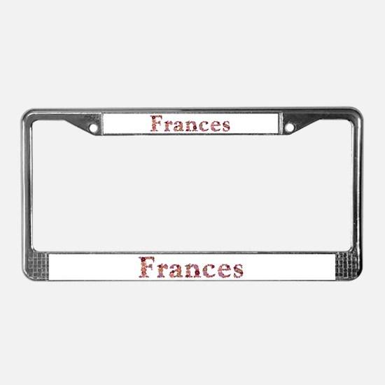 Frances Pink Flowers License Plate Frame