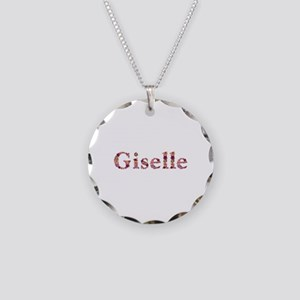 Giselle Pink Flowers Necklace Circle Charm