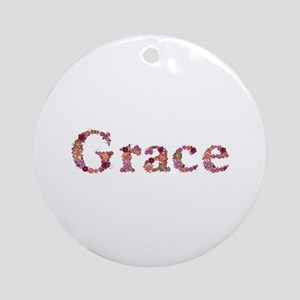 Grace Pink Flowers Round Ornament