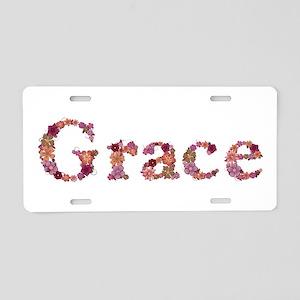 Grace Pink Flowers Aluminum License Plate