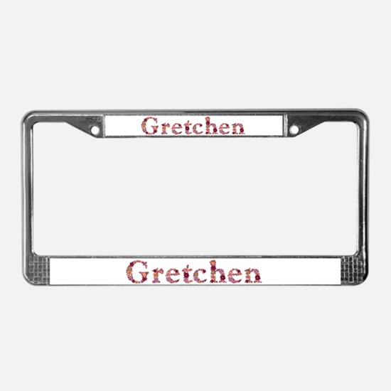 Gretchen Pink Flowers License Plate Frame