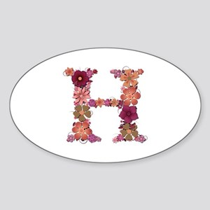 H Pink Flowers Oval Sticker