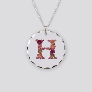 H Pink Flowers Necklace Circle Charm