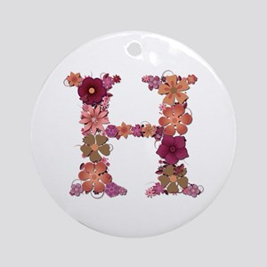 H Pink Flowers Round Ornament