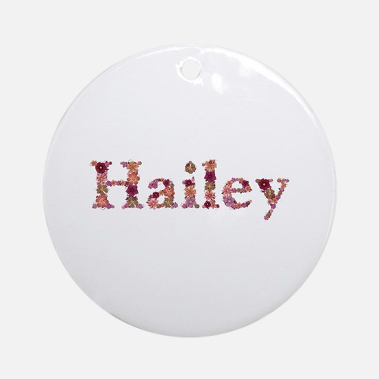 Hailey Pink Flowers Round Ornament