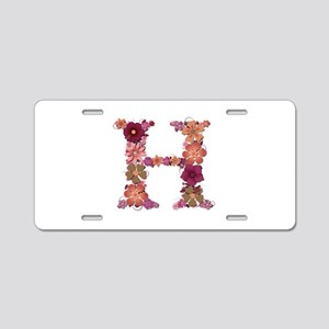 H Pink Flowers Aluminum License Plate