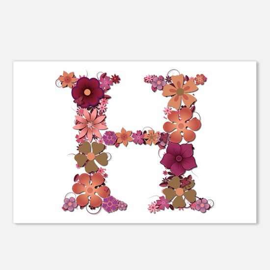 H Pink Flowers Postcards 8 Pack