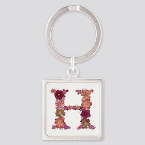 H Pink Flowers Square Keychain
