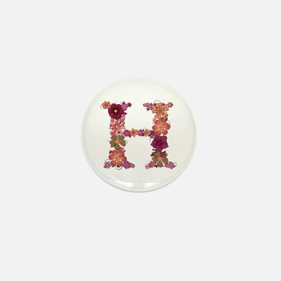 H Pink Flowers Mini Button