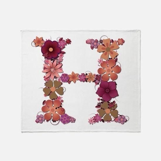 H Pink Flowers Throw Blanket