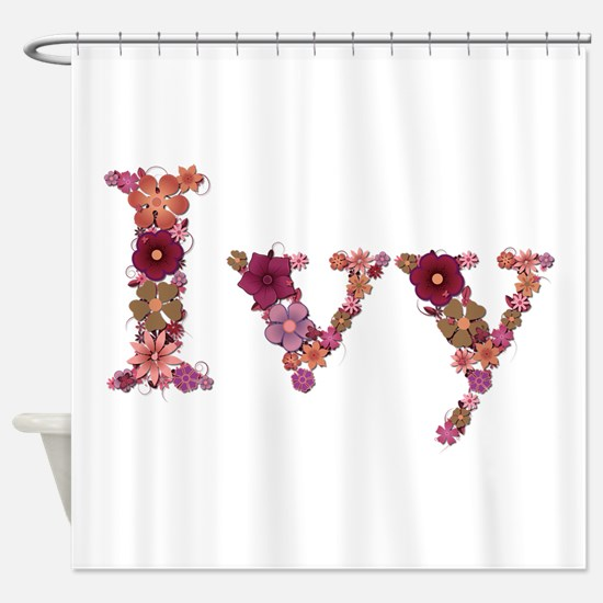 Ivy Pink Flowers Shower Curtain