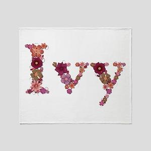 Ivy Pink Flowers Throw Blanket