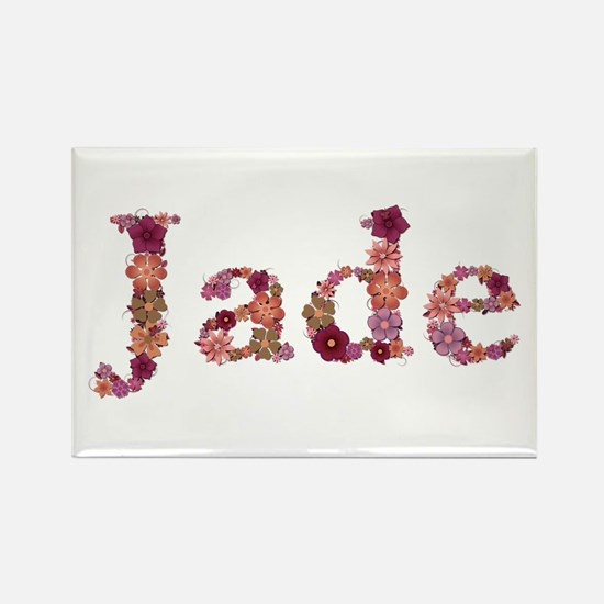 Jade Pink Flowers Rectangle Magnet
