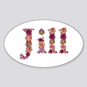 Jill Pink Flowers Oval Sticker