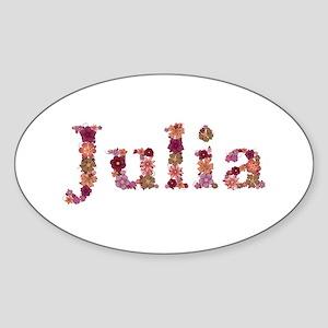 Julia Pink Flowers Oval Sticker