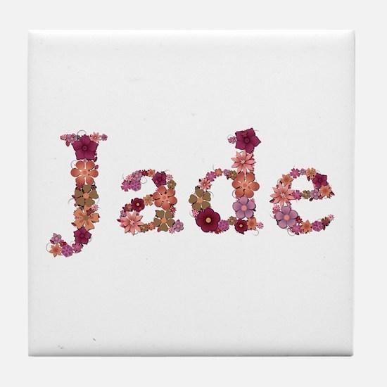 Jade Pink Flowers Tile Coaster
