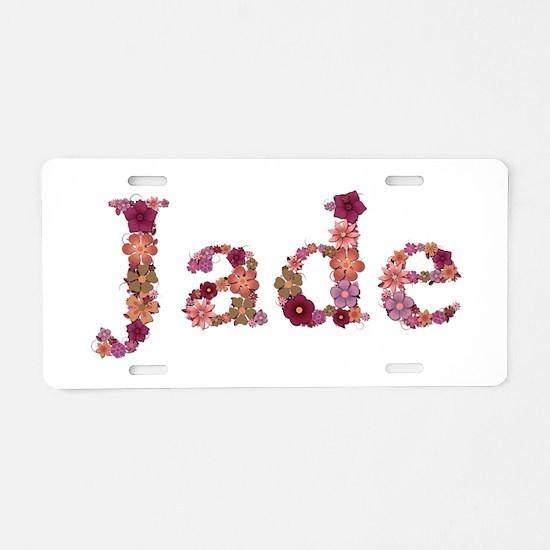 Jade Pink Flowers Aluminum License Plate