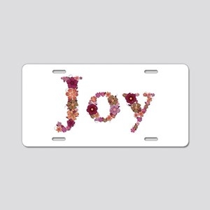 Joy Pink Flowers Aluminum License Plate