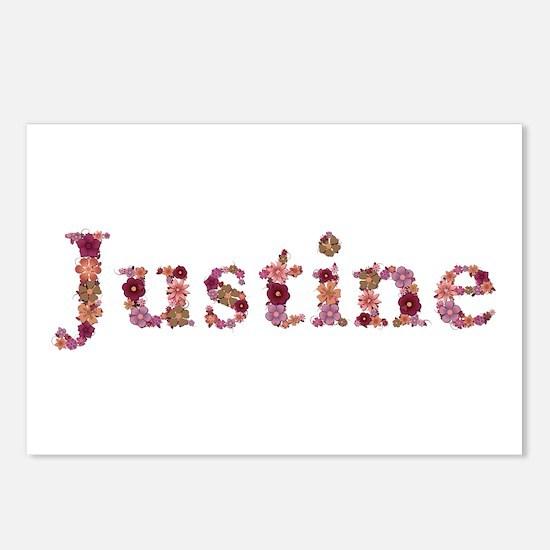 Justine Pink Flowers Postcards 8 Pack