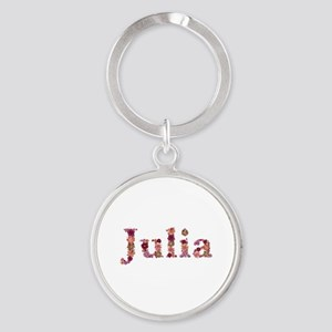 Julia Pink Flowers Round Keychain