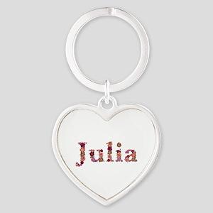 Julia Pink Flowers Heart Keychain