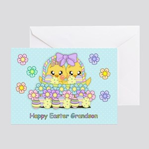 Grandson Cute Easter Chicks Greeting Card