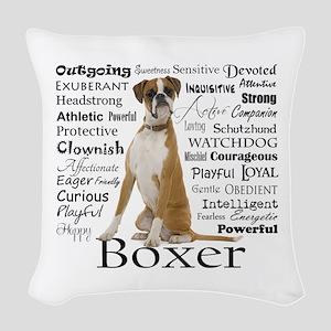 Boxer Traits Woven Throw Pillow