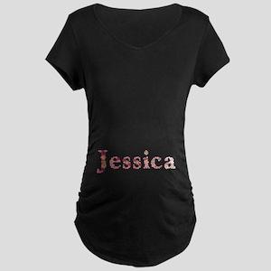 Jessica Pink Flowers Maternity Dark T-Shirt