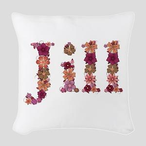 Jill Pink Flowers Woven Throw Pillow