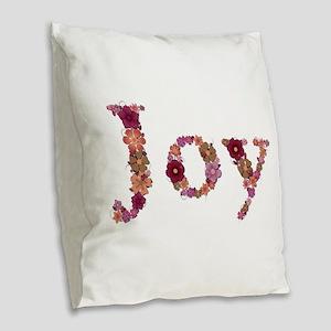 Joy Pink Flowers Burlap Throw Pillow