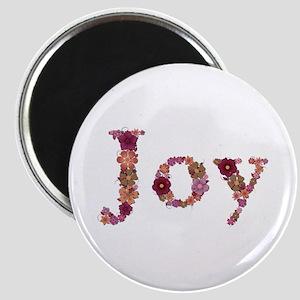 Joy Pink Flowers Round Magnet