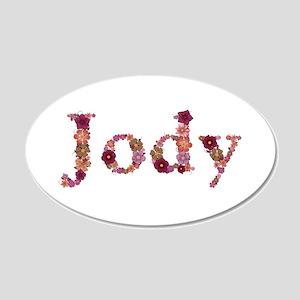 Jody Pink Flowers 20x12 Oval Wall Decal