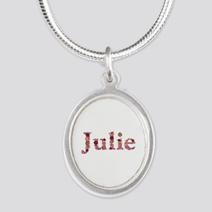 Julie Pink Flowers Silver Oval Necklace
